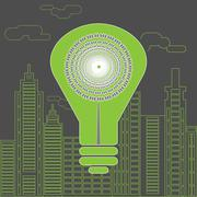 Energy saving lightbulb in front of the skyscrapers. Stock Illustration