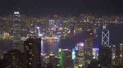 Hong Kong city at night, view from Victoria peak Stock Footage