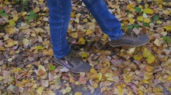 A child on a walk in the park on autumn foliage Stock Footage