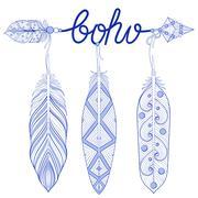 Blue Bohemian Arrow, Amulet, letters Boho  with henna feathers Stock Illustration
