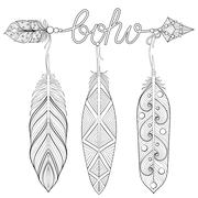 Bohemian Arrow, Hand drawn Amulet wih word Boho and feathers for Stock Illustration