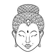 Vector artistically Portrait of Buddha for ornamental adult colo Stock Illustration