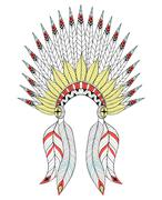 Vector zentangle War Bonnet with color feathers. American native Stock Illustration