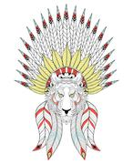 Vector zentangle Tiger with War Bonnet. American headdress with Stock Illustration