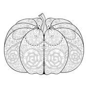 Zentangle stylized autumn Pumpkin for Thanksgiving day, Hallowee Stock Illustration