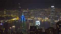 Hong Kong at night, view from Victoria peak 4k Stock Footage