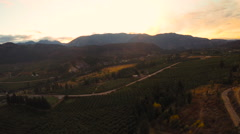 Aerial: Fall Sunset Over The Country and Mountain Vistas Stock Footage