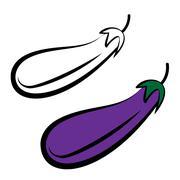 Purple aubergine, isolated eggplant Stock Illustration