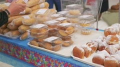 Choose fresh baked goods in the supermarket Stock Footage