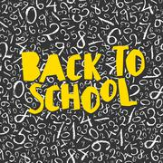 Back to school poster design with numbers pattern background Stock Illustration