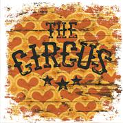 The Circus. Classical grunge poster. Isolated borders. Hearts aged pattern Stock Illustration