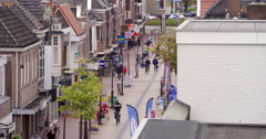 Shopping street real estate Netherlands, high angle Stock Footage