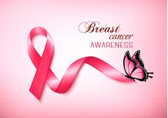 Breast cancer awareness ribbon on a pink background. Vector. Piirros
