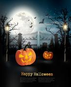 Halloween spooky background. Vector Stock Illustration