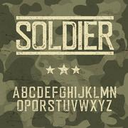 Soldier alphabet. Military deisgn set. Army design elements. Military camoufl Stock Illustration