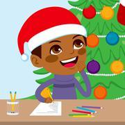 Kid Writing Santa Letter Stock Illustration