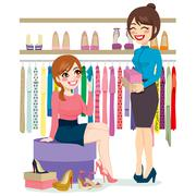 Woman Shopping Shoes Stock Illustration