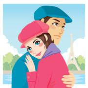 Lovers Hug Eiffel Tower Stock Illustration