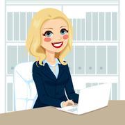 Senior Businesswoman Working With Laptop Stock Illustration