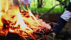 Pile of burning branches which emit smoke in forest Stock Footage