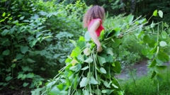 Woman carries armful of green branches with leaves in forest Stock Footage