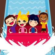 Kids Enjoying Water Boat Ride Stock Illustration