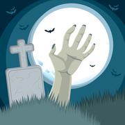 Zombie Hand Cemetery Stock Illustration