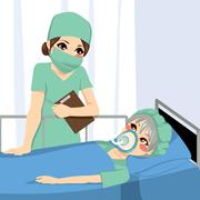 Anesthetist Nurse And Patient Stock Illustration