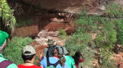 LOWER EMERALD POOLS, ZION NATIONAL PARK ,park under siege Stock Footage