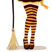 Witch Legs Broom Stock Illustration