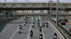 Bikers motorcade on Leningradskoe highway at day. Timelapse Stock Footage