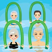 Senior Aqua Gym Foam Rollers Stock Illustration