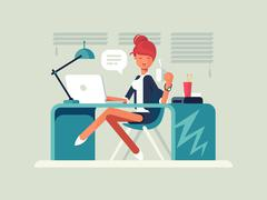 Young girl at workplace Stock Illustration