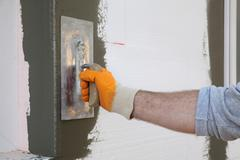 House renovation, polystyrene wall insulation Stock Photos
