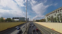 Cleaners wash part of road of Leningradskoe speedway with vehicles drive Stock Footage