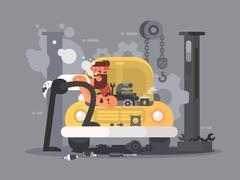 Man repair car Stock Illustration
