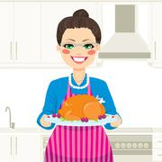 Cooking Thanksgiving Turkey Stock Illustration