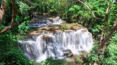 Timelapse of waterfall surround with tree in the forest in Kanchanaburi Thailand Stock Footage