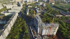 City panorama with construction site of residential complex Jauza Park Stock Footage
