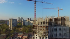 Construction site of residential complex Jauza Park against cityscape Stock Footage