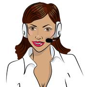 Dispatcher. The image of the smiling african woman talking on a headphone Stock Illustration