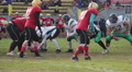 Strained attack on scrimmage line, winners celebrating success, gridiron match HD Footage