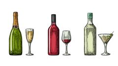 Bottle and glass cocktail, liquor, wine, champagne. Stock Illustration