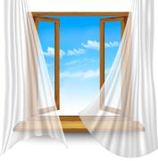 Wooden window frame with curtains on a transparent background. Vector Stock Illustration