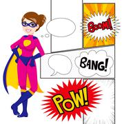 Super Hero Woman Panels Comic Piirros