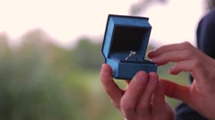 Happy woman feeling emotion getting ring for wedding proposal Stock Footage