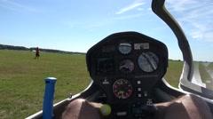 Cockpit point of view POV footage in modern glider sailplane waiting takeoff 4k Stock Footage