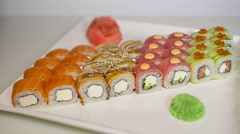 Sushi rolls set Stock Footage