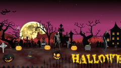 Cartoon animation Halloween scene with animated text Halloween. Stock Footage