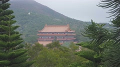 Po Lin Monastery at the Lantau island, Hong Kong Stock Footage